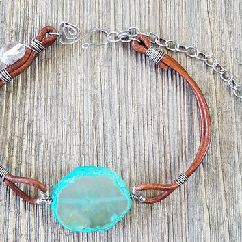 Green Agate Slice Leather Choker-Handmade Everyday Crystal Necklace-Silver Wire Wrapped Statement Necklace Gift for Her-Hypoallergenic