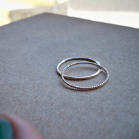 Contrasting Sterling Silver Stacking Rings, 2 Halves of Infinity, Best Friends, Mother Daughter - All sizes