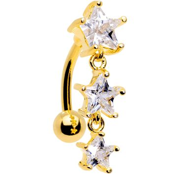 Clear CZ Gem Gold Plated Triple Star Top Mount Dangle Belly Ring
