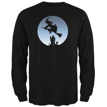 PEAPGQ9 Halloween Witch Riding Broomstick Full Moon Mens Long Sleeve T Shirt