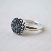 Black Druzy Ring, Druzy Ring, Druzy Ring Silver, Sterling Silver Rings for Women