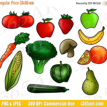 50% OFF SALE Fruits and Vegetables Clipart, Fruit Clip Art, Vegetable Clip Art, Digital Graphics, Food Groups, Printable, PNG, Commercial