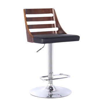 Armen Living Storm Barstool in Chrome finish with Walnut wood and Black Pu