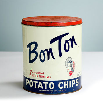 Mid Century 1940s-1950s Bon Ton Potato Chip Tin Can from York, PA  / Vintage Advertising Graphics