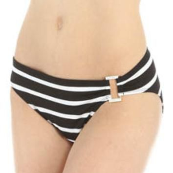 Lauren Ralph Lauren Swimwear LR55B97 Lurex Stripe Ring Front Hipster Swim Bottom