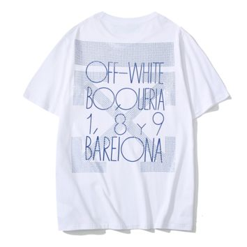 Off White New fashion bust and back diamond cross letter arrow couple top t-shirt White