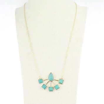 Turquoise Necklace Set Pendant Sweater Chain Sponge [4956917828]