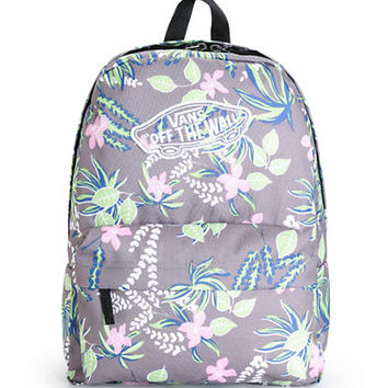 Vans Realm Grey Floral Print Backpack