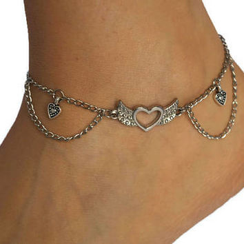 Summer Style Angel And Heart Silver Anklet, Summer Bohemian Anklets Heart Angel Wing Fashion Women Jewelry, Angel Wing Heart Charm Anklet
