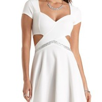 Beaded Sequin-Trim Skater Dress by Charlotte Russe - White