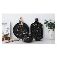 Kinzey Black And Gold Marble Tableware