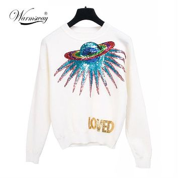 Warmsway Autumn UFO planet sequins letters knit pullovers female sweater jumper Long Sleeve Loved letter Sweater WS-007