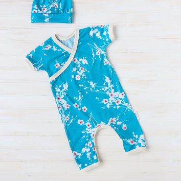 Bue Flower Kimono Romper - Baby Going Home Outfit - Newborn Romper - Layette - Newborn - 0-3 months - 3-6 months -READY TO SHIP