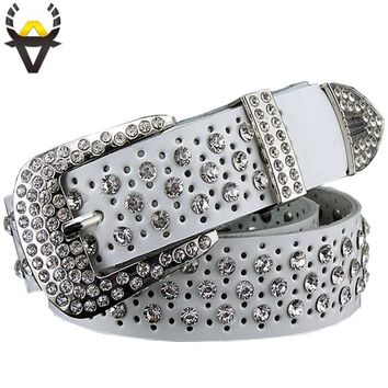 Rhinestone Luxury Designer Genuine Leather Belt High Quality Cow Second Layer Skin