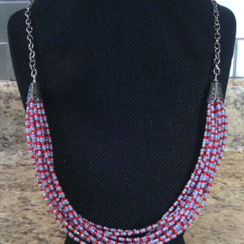 Pink Multistrand Necklace - Summery Multi-strand Necklace - Silver, Pink, Blue and Red