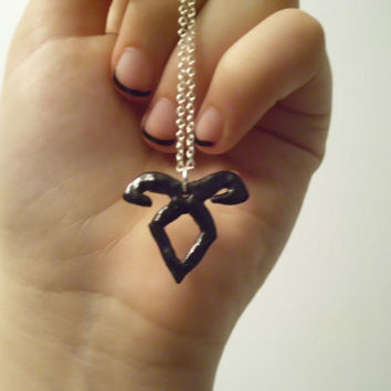 The Mortal Instruments Nephilim Inspired Hand Carved & Painted Black SMALL Angelic Rune Polymer Clay Silver Chain Necklace Geekery