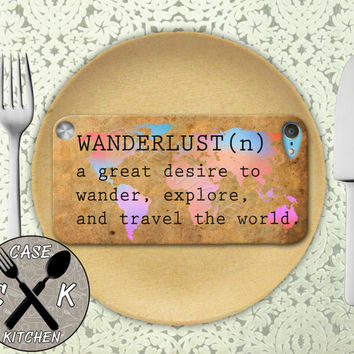 Wanderlust Definition World Map Rainbow Travel Explore Custom Rubber Case iPod 5th Generation and Plastic Case For The iPod 4th Generation