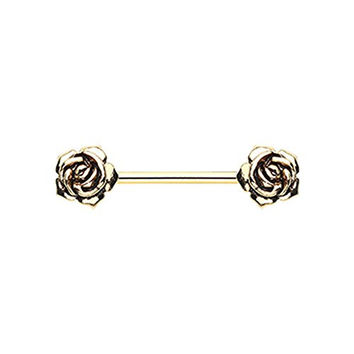 Double Rose Gold-Tone Surgical Steel Nipple Ring Barbell