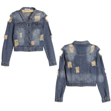 2016 New Fashion Jeans Jackets Women's BF Holes Short Distressed Denim Jacket Washed Casual Woman Denim Coat Outwear S-XL