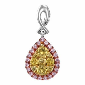 14kt White Gold Women's Round Yellow Pink Diamond Teardrop Cluster Pendant 1-2 Cttw - FREE Shipping (US/CAN)