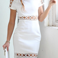 White Lattice Cut Out Bodycon Dress