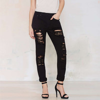 Low Waist Ripped Pants