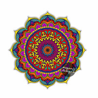 Sunset Mandala Sticker - Colorful Car Decal Vinyl Bumper Sticker Religious Symbol Yoga Car Decal Yantra Cosmos Universe Purple Blue Wall Art