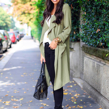 Long Sleeve Non Buttoned Long Coat