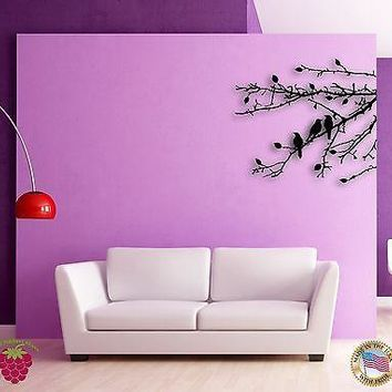 Wall Sticker Branch Leafs Black Birds Floral Decor for Bedroom Unique Gift z1372