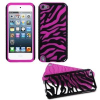 Fusion Dual Layer Hybrid Black Zebra/Hot Pink Protector Case for Apple iPod Touch 5