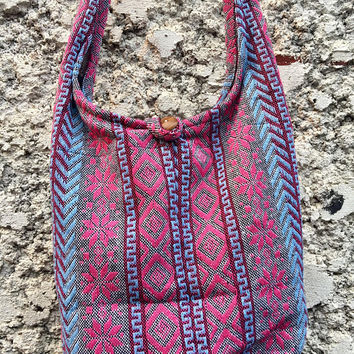 Aztec Woven Nepali Crossbody Sling bag Festival Tribal Hippie Boho Bohemian Style Ikat Southwestern Fabric Hobo Messenger bag gift for Vegan