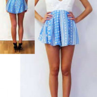 Love Cat Belle Romper in Blue Vintage