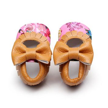 Kids PU Leather Footwear Floral Mary Janes Big Bow Baby Girl Princess Moccasins Soft Moccs First Walkers Shoes