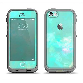 The Bright Teal WaterColor Panel Apple iPhone 5c LifeProof Fre Case Skin Set