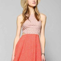 Lucca Couture Pattern-Mix Cutout Dress- Red Multi