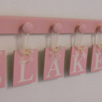 Pink Baby Girl Nursery Decor Set Include Hanging Wall Letter for BLAKELY in Pastel Pink with 7 Wooden Pegs