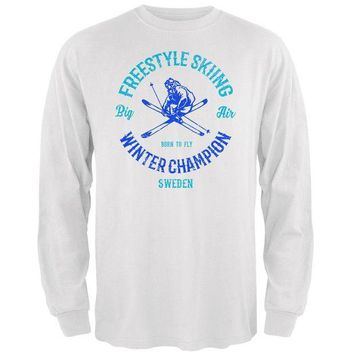 LMFON Winter Games Freestyle Skiing Champion Sweden Mens Long Sleeve T Shirt