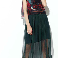 Dark Green Printed Chiffon Dress