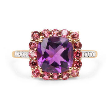 A Vintage 2.38CT Genuine Amethyst, Pink Tourmaline and White Diamond 10K Yellow Gold Ring
