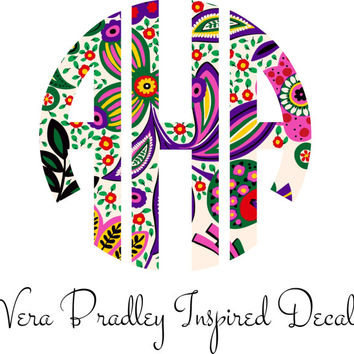 Vera Bradley Inspired Circle Monogram Decal