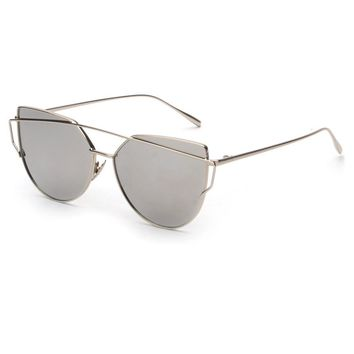 Silver Metallic Cat Eye Sunglasses