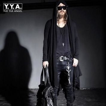 Spring New Avant-garde Boys Men's Punk Gothic Long Cloak Causal Loose Nightclub Cosplay Trench Coats Free Sizes