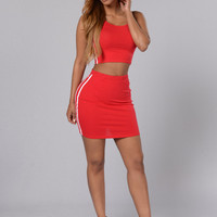 Sleeveless Crop Top with Mini Skirt