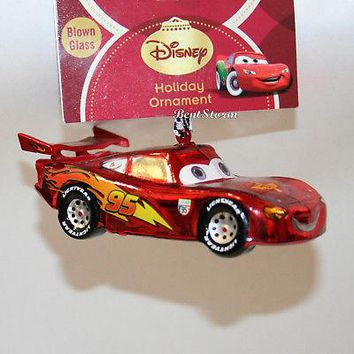Licensed cool Disney CARS Lightning McQueen 95 Red Race Car Blown Glass Christmas Ornament NWT