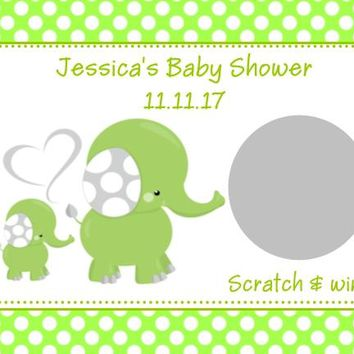 10 Green Elephant Baby Shower Scratch Off Cards Polka Dot