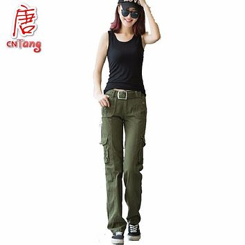 Khaki Cargo Pants Women 2017 multi pocket Trouser Causal military Summer female Army Camo Fashion women's camouflage pants femme