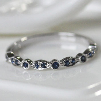 Half Eternity Band 14k White Gold Blue Sapphire Ring/ Wedding Ring/ Engagement Ring/ Promise Ring/ Anniversary Ring