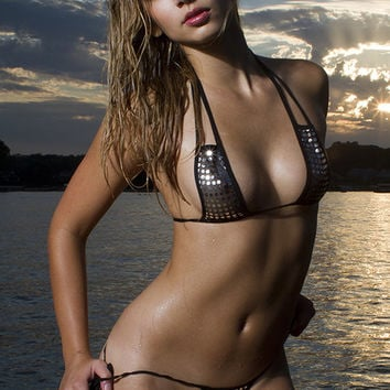 Black Sheer Silver Dot Micro string Bikini