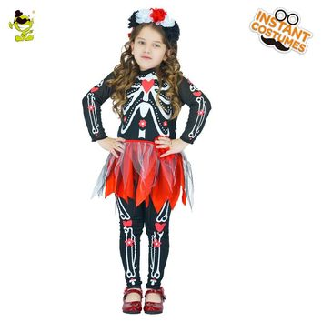 New Design Girls Skeleton Costumes Halloween Masquerade Party Pretty Skull Human Cosplay Fancy Dress for Kids Performance