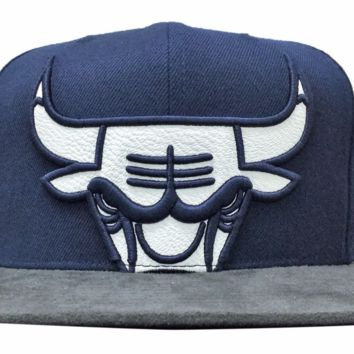Men's Chicago Bulls Navy and Gray Big Bulls Logo Mitchell & Ness Suede Bill Snapback